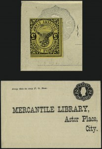 Sale Number 965, Lot Number 1223, Local and Private Posts (Jays thru Messenkope)Mercantile Library Association, New York N.Y., 5c Black on Yellow (105L2), Mercantile Library Association, New York N.Y., 5c Black on Yellow (105L2)