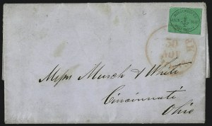 Sale Number 965, Lot Number 1224, Local and Private Posts (Jays thru Messenkope)Messenkope's Union Square Post Office, New York N.Y., (1c) Black on Green Glazed (106L1), Messenkope's Union Square Post Office, New York N.Y., (1c) Black on Green Glazed (106L1)