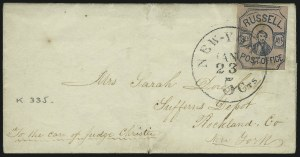 Sale Number 965, Lot Number 1244, Local and Private Posts (Russells thru Stringer & Morton)Russell's 8th Ave. Post Office, New York N.Y., (2c) Blue on Rose (130L1), Russell's 8th Ave. Post Office, New York N.Y., (2c) Blue on Rose (130L1)