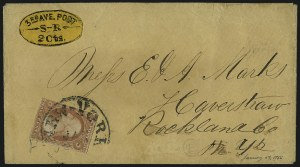 Sale Number 965, Lot Number 1265, Local and Private Posts (Teese thru Walton)Third Avenue Post Office, New York N.Y., 2c Black on Yellow (139L3), Third Avenue Post Office, New York N.Y., 2c Black on Yellow (139L3)