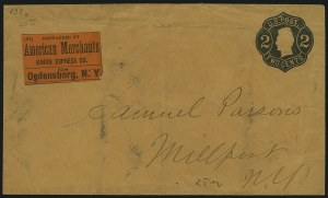 Sale Number 965, Lot Number 1277, Express CompaniesForwarded by American Merchants Union Express Co. from Ogdensbnrg [sic] N.Y, Forwarded by American Merchants Union Express Co. from Ogdensbnrg [sic] N.Y