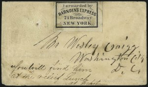 Sale Number 965, Lot Number 1280, Express CompaniesForwarded by Harnden's Express, 74 Broadway, New York, Forwarded by Harnden's Express, 74 Broadway, New York