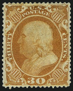 Sale Number 967, Lot Number 4147, 1857-60 Issue (Scott 18-39)30c Orange (38), 30c Orange (38)