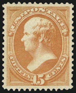Sale Number 967, Lot Number 4304, 1879 American Bank Note Co. Issue (Scott 182-191)15c Red Orange (189). Mint N.H, 15c Red Orange (189). Mint N.H