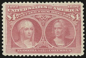Sale Number 967, Lot Number 4412, 1893 Columbian Issue (Scott 230-245)$4.00 Rose Carmine, Columbian (244a), $4.00 Rose Carmine, Columbian (244a)