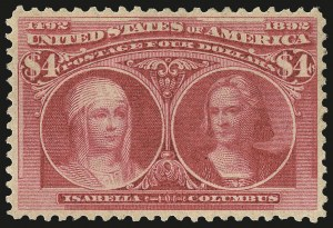 Sale Number 967, Lot Number 4413, 1893 Columbian Issue (Scott 230-245)$4.00 Columbian (244), $4.00 Columbian (244)