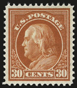 Sale Number 967, Lot Number 4743, 1912-14 Washington-Franklin Issue (Scott 405-423)30c Orange Red (420), 30c Orange Red (420)