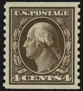 Sale Number 967, Lot Number 4784, 1913-15 Washington-Franklin Issues (Scott 424-461)4c Brown, Coil (446), 4c Brown, Coil (446)