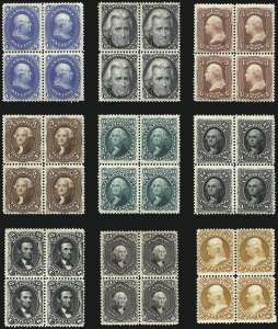 Sale Number 968, Lot Number 129, 1875 Re-Issue of 1861-66 Issue (Scott 102-111), including blocks of four1c-30c 1875 Re-Issue of 1861-66 Issue (102-110), 1c-30c 1875 Re-Issue of 1861-66 Issue (102-110)