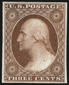 Sale Number 968, Lot Number 16, 1851-56 Issue (Scott 5-17)3c Deep Orange Brown, Ty. II (10A). Mint N.H, 3c Deep Orange Brown, Ty. II (10A). Mint N.H
