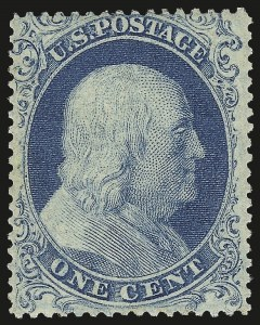 Sale Number 968, Lot Number 24, 1857-60 Issue (Scott 18-39)1c Blue, Ty. I (18). Mint N.H, 1c Blue, Ty. I (18). Mint N.H