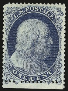 Sale Number 968, Lot Number 25, 1857-60 Issue (Scott 18-39)1c Blue, Ty. Ia (19), 1c Blue, Ty. Ia (19)