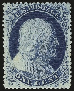 Sale Number 968, Lot Number 28, 1857-60 Issue (Scott 18-39)1c Blue, Ty. IIIa (22). Mint N.H, 1c Blue, Ty. IIIa (22). Mint N.H