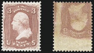 Sale Number 968, Lot Number 78, 1861-66 Issue (Scott 63-72)3c Rose, Printed on Both Sides (65e), 3c Rose, Printed on Both Sides (65e)