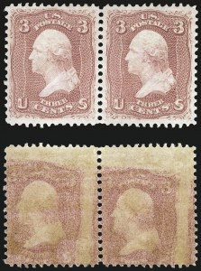 Sale Number 968, Lot Number 79, 1861-66 Issue (Scott 63-72)3c Rose, Printed on Both Sides (65e), 3c Rose, Printed on Both Sides (65e)