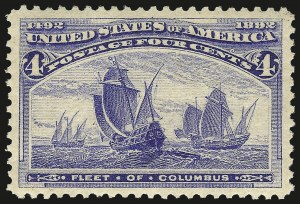 Sale Number 968A, Lot Number 278, 1893 Columbian Issue (Scott 230-245)4c Columbian (233), 4c Columbian (233)