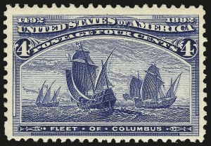 Sale Number 968A, Lot Number 279, 1893 Columbian Issue (Scott 230-245)4c Columbian, Error of Color (233a), 4c Columbian, Error of Color (233a)