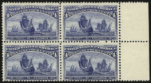 Sale Number 968A, Lot Number 280, 1893 Columbian Issue (Scott 230-245)4c Columbian, Error of Color (233a), 4c Columbian, Error of Color (233a)