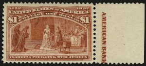 Sale Number 968A, Lot Number 289, 1893 Columbian Issue (Scott 230-245)$1.00 Columbian (241), $1.00 Columbian (241)