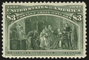 Sale Number 968A, Lot Number 291, 1893 Columbian Issue (Scott 230-245)$3.00 Columbian (243), $3.00 Columbian (243)