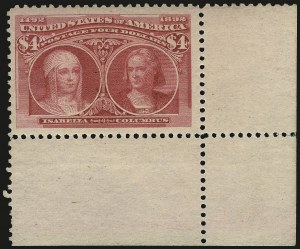 Sale Number 968A, Lot Number 292, 1893 Columbian Issue (Scott 230-245)$4.00 Columbian (244), $4.00 Columbian (244)