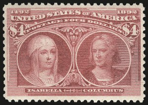 Sale Number 968A, Lot Number 293, 1893 Columbian Issue (Scott 230-245)$4.00 Rose Carmine, Columbian (244a), $4.00 Rose Carmine, Columbian (244a)