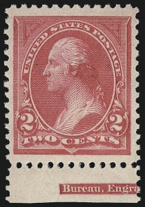 Sale Number 968A, Lot Number 299, 1894 Unwatermarked Bureau Issue (Scott 246-263)2c Carmine, Ty. I (250), 2c Carmine, Ty. I (250)