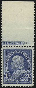 Sale Number 968A, Lot Number 315, 1895-98 Watermarked Bureau Issue (Scott 264-278)1c Blue (264), 1c Blue (264)