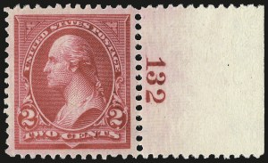Sale Number 968A, Lot Number 317, 1895-98 Watermarked Bureau Issue (Scott 264-278)2c Carmine, Ty. II (266), 2c Carmine, Ty. II (266)