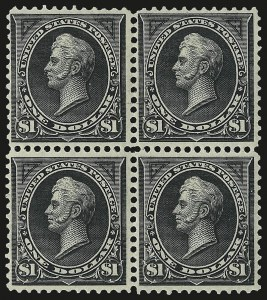 Sale Number 968A, Lot Number 332, 1895-98 Watermarked Bureau Issue (Scott 264-278)$1.00 Black, Ty. I (276), $1.00 Black, Ty. I (276)