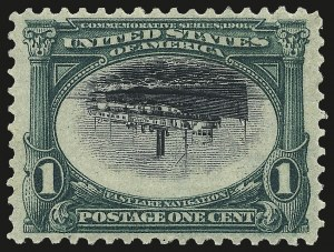 Sale Number 968A, Lot Number 364, 1901 Pan-American Issue Invert Singles (Scott 294a, 295a, 296)1c Pan-American, Center Inverted (294a), 1c Pan-American, Center Inverted (294a)