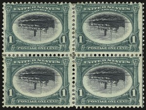 Sale Number 968A, Lot Number 367, 1901 Pan-American Issue Invert Blocks (Scott 294a, 295a, 296)1c Pan-American, Center Inverted (294a), 1c Pan-American, Center Inverted (294a)