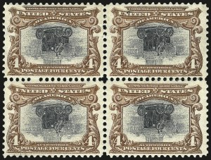 Sale Number 968A, Lot Number 369, 1901 Pan-American Issue Invert Blocks (Scott 294a, 295a, 296)4c Pan-American, Center Inverted (296a), 4c Pan-American, Center Inverted (296a)