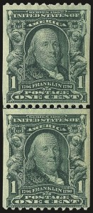 Sale Number 968B, Lot Number 393, 1902-08 Issue (Scott 315-318)1c Blue Green, Coil (316), 1c Blue Green, Coil (316)