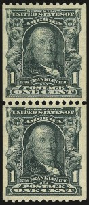 Sale Number 968B, Lot Number 394, 1902-08 Issue (Scott 315-318)1c Blue Green, Coil (316), 1c Blue Green, Coil (316)