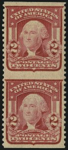 Sale Number 968B, Lot Number 403, 1902-08 Issue (Scott 319-322)2c Carmine, Ty. I, Vertical Pair, Imperforate Horizontally (319d), 2c Carmine, Ty. I, Vertical Pair, Imperforate Horizontally (319d)
