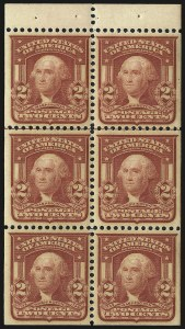 Sale Number 968B, Lot Number 407, 1902-08 Issue (Scott 319-322)2c Oily Dark Carmine, Ty. I, Booklet Pane of Six (319g var), 2c Oily Dark Carmine, Ty. I, Booklet Pane of Six (319g var)