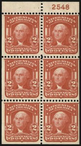 Sale Number 968B, Lot Number 409, 1902-08 Issue (Scott 319-322)2c Scarlet, Ty. I, Booklet Pane of Six (319p), 2c Scarlet, Ty. I, Booklet Pane of Six (319p)