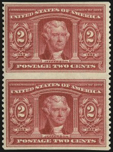 Sale Number 968B, Lot Number 419, 1904 Louisiana Purchase, Jamestown Issues (Scott 323-330)2c Louisiana Purchase, Vertical Pair, Imperforate Horizontally (324a), 2c Louisiana Purchase, Vertical Pair, Imperforate Horizontally (324a)
