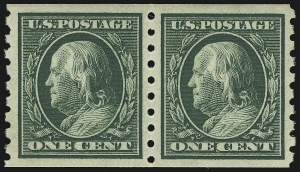 Sale Number 968B, Lot Number 499, 1910-13 Washington-Franklin Issue (Scott 390-396)1c Green, Coil (392), 1c Green, Coil (392)