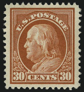 Sale Number 968B, Lot Number 536, 1912-14 Washington-Franklin Issue (Scott 405-423)30c Orange Red (420), 30c Orange Red (420)