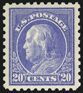 Sale Number 968B, Lot Number 555, 1913-15 Washington-Franklin Issues (Scott 424-460)20c Ultramarine (438), 20c Ultramarine (438)