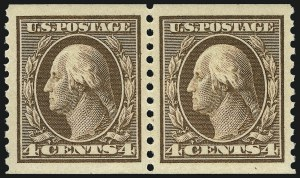 Sale Number 968B, Lot Number 573, 1913-15 Washington-Franklin Issues (Scott 424-460)4c Brown, Coil (446), 4c Brown, Coil (446)