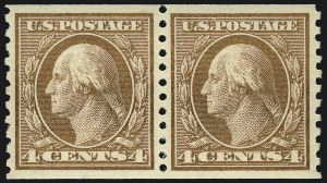 Sale Number 968B, Lot Number 598, 1913-15 Washington-Franklin Issues (Scott 424-460)4c Brown, Coil (457), 4c Brown, Coil (457)