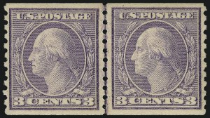 Sale Number 968B, Lot Number 642, 1916-17 Issues (Scott 485-497)3c Violet, Ty. II, Coil (494), 3c Violet, Ty. II, Coil (494)