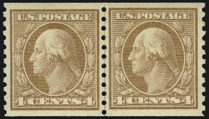 Sale Number 968B, Lot Number 643, 1916-17 Issues (Scott 485-497)4c Orange Brown, Coil (495), 4c Orange Brown, Coil (495)