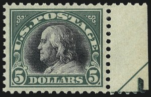 Sale Number 968B, Lot Number 691, 1916-17 Issues (Scott 519-524)$5.00 Deep Green & Black (524), $5.00 Deep Green & Black (524)