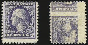 Sale Number 968B, Lot Number 697, 1918-20 Offset Printing Issues (Scott 525-536)3c Violet, Ty. III, Printed on Both Sides (529b), 3c Violet, Ty. III, Printed on Both Sides (529b)