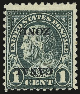 "Sale Number 969, Lot Number 703, Canal Zone (70-81)1924, 1c Deep Green, Inverted Ty. ""A"" Ovpt. (71a), 1924, 1c Deep Green, Inverted Ty. ""A"" Ovpt. (71a)"