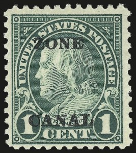 "Sale Number 969, Lot Number 706, Canal Zone (70-81)1924, 1c Deep Green, Ty. ""A"" Ovpt., Second Printing, ""Zone Canal"" Error (71d), 1924, 1c Deep Green, Ty. ""A"" Ovpt., Second Printing, ""Zone Canal"" Error (71d)"